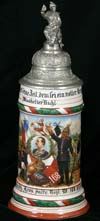 Imperial stein OF Musketier Ruhl of the Reider 5. Comp. 5 Grossh. Hess. Infr. Regt. Nr. 168. Offenbach 1907-09