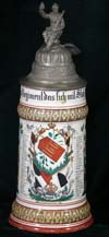 Imperial Army stein of Reservist Meiy of the 7 Comp. Inft. Rgt. Nr. 166 Hanau