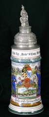 Imperial army stein of Reservist Reitzenstein of the 9th Inf. -Rgt. ,, Wrede 10. Comp.Wurzburg 1912-1914