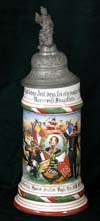 Imperial German Army stein of Reservist Dingelbein of the  Reider 7 Comp. 5. Grossh. Inf. Rgt. Hess. Inftr. Rgt. Nr. 168 Offenbach 1909-11