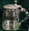 Glass commercial beer stein with banded design