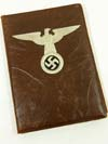 Leather presentation folio with silver foil embossed eagle