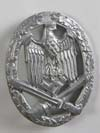 Army/Waffen General Assault badge in silver unmarked