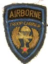 U.S. Army Airborne Troop Carrier officer sleeve insignia in bullion