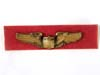 US Army Air force heavy  gold plated pilots badge on red velvet