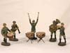 Army set of five bandmen figures and drums by ELASTOLIN.