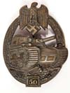Rare Army /Waffen SS Panzer Assault Badge ( Panzerkampfabzeichen ) in Bronze for 50 engagements by Gustav Brehmer