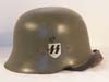 Rare named  SS/SD double decal M34 light weight medium duty aluminum helmet with ventilation  lugs