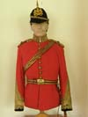 Royal Engineers officer's full dress uniform, with red morocco belts and slings