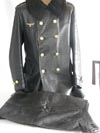 Kriegsmarine officer's foul weather leather jacket with mouton wool collar and matching leather pants